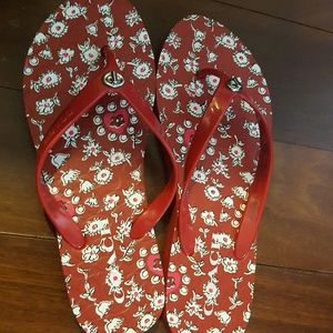 Coach Red Flip Flops, Size 7